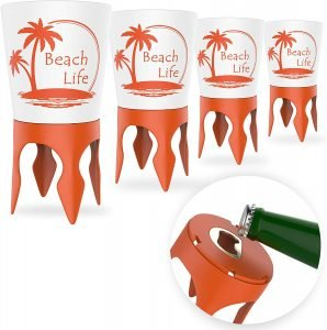 beach cup holders with bottle openers are perfect for relaxing while beach camping