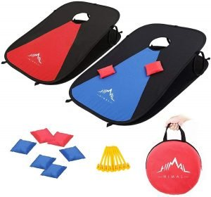 collapsable cornhole game for fun while camping outdoors with family