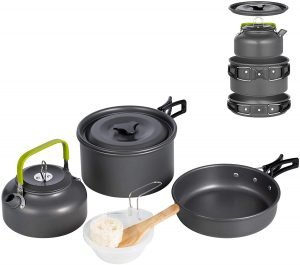 this nonstick camping cookware set is a tent camping essential