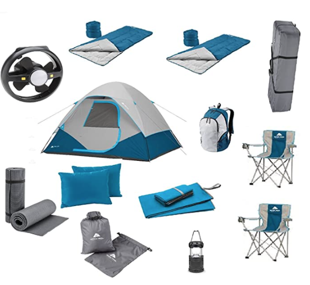 an entire outdoor family camping set