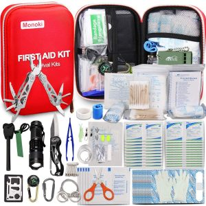first aid kit with survival tools for outdoor family camping