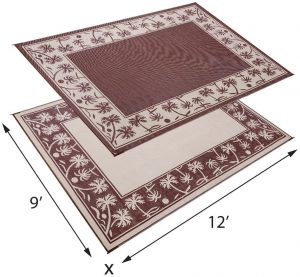 reversable outdoor mat for rv camping