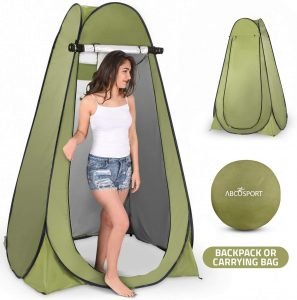 pop up privacy tent for changing and showering while beach camping