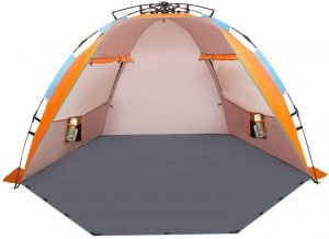 this beach sun shelter will help keep you out of the sun while beach camping