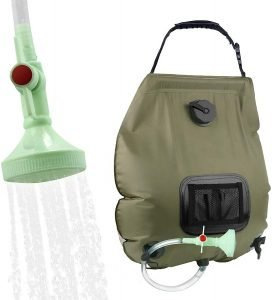 solar shower bags are essential for maintaining hygeine while tent camping outdoors