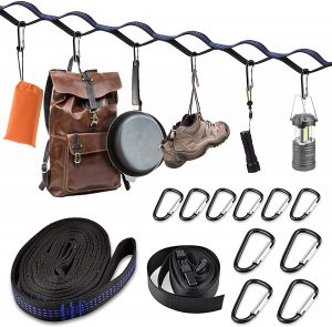camping storage straps help maintain your tent camping essentials
