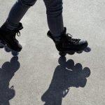 balancing act with aggressive inline skates