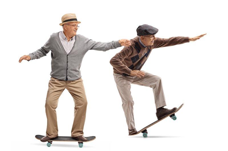 old skateboarders skating
