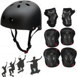 Besmall Adjustable Skateboard Skate Helmet with Protective Gear Knee Pads Elbow Pads Wrist Pads for Youth